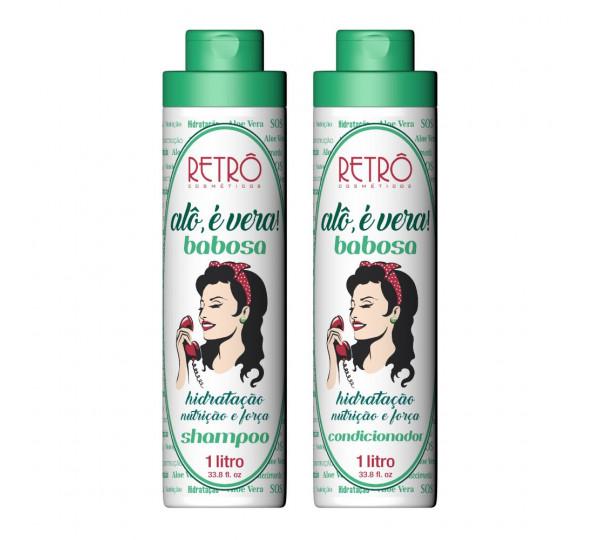 Kit Duo Babosa Shampoo e Condicionador Alô é Vera Retrô Cosméticos 2x1000mL