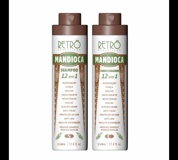 Kit Duo Profissional Mandioca 12 Em 1 Retrô Cosméticos 2x1000mL